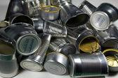 钢食品罐回收再利用 — 图库照片
