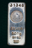 500 Gram Silver Bullion Bar — Stock Photo