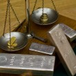 Silver Bars on Antique Balance Scale — Stock Photo #32631471