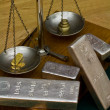 Silver Bars on Antique Balance Scale — Stock Photo