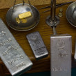 Silver Bars on Antique Balance Scale — Stock Photo #32631473