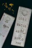 Homestake Mining Company Silver Bullion Bars and Natural Gold Nuggets — Stock Photo