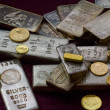Silver and Gold Bullion Bars, Coins and Rings — Stock Photo #32847955