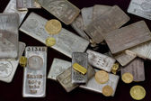 Silver and Gold Bullion Bars, Coins and Rings — Stock Photo
