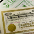 Antique Western Mining Company Stock Certificates — Stock Photo