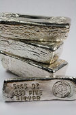 Stamped Silver Bullion Bars - Poured Ingots — Stock Photo