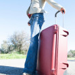 Womwith red suitcase. — Stock Photo #41944751