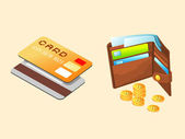 Plastic card and cash — Stock Photo