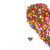 Hjärta, symbolen för kärlek, vykort, ram, — Stockfoto