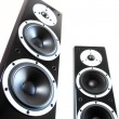Black audio speakers — Stock Photo