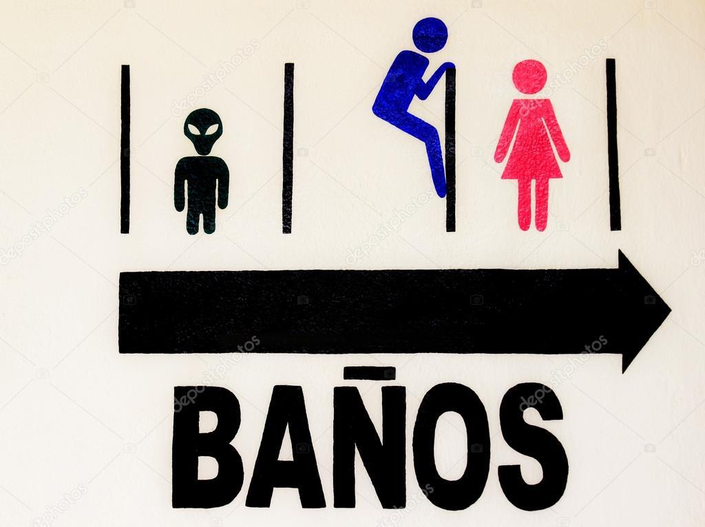 lustige wc zeichen auf spanisch stockfoto andycandy 31853445. Black Bedroom Furniture Sets. Home Design Ideas