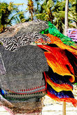 Colorful scarves on african beach — Stock Photo