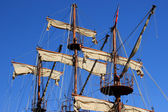 Masts and sails of huge sailing boat — ストック写真