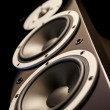 Stock Photo: Black audio speakers tower