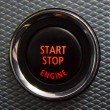 Start Stop engine button in sport car — Stock Photo