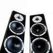 Pair of black high gloss music speakers — Stock Photo