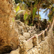 Steep stone stairs leading to a beach — Stock Photo
