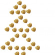 Christmas tree concept made of golden hearts — Stock Photo