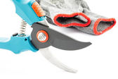 Pruning shears and gardening worn gloves — Stock Photo