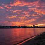 Sunset over Dnipro river, Kyiv, Ukraine — Stock Photo #32571273