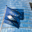 Stock Photo: Europeflags in front of EuropeCommission