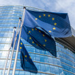 European flags in front of the European Commission — Stock Photo