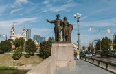 Worker and farm woman statues in Vilnius, Lithuania — Foto Stock