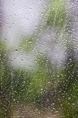 Natural water drops on window glass — Stock Photo