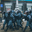 Citizens and riot police. Protests of Euromaidin Kiev, December 2013 — Stock Photo #37166115