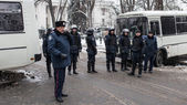 Riot police during Euromaidan protests in Kiev, December 2013 — 图库照片