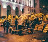 Barricades of Euromaidan in Kiev, December 2013 — Stock Photo
