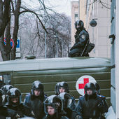 Riot police during Euromaidan protests in Kiev, December 2013 — Zdjęcie stockowe