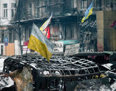 Burned car in Kiev — Stock Photo