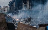 Burned building at the Maidan in Kyiv, Ukraine — Stock Photo