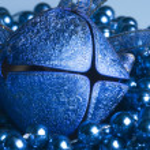 Blue Christmas bell — Stock Photo
