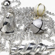 Silver assorted Christmas ornaments — Stock Photo