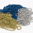 Strings of blue gold and silver beads — Stok fotoğraf