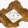 Clock on a dry leaf — Stock Photo