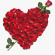 Heart shape made from red rose petals — Stockfoto