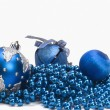 Three blue Christmas ornaments — Stock Photo
