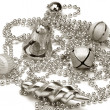 Silver assorted Christmas ornaments — Stock Photo #32899179