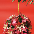 Christmas decoration made of Christmas balls and red flowers — Stock Photo