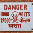 High Voltage warning signboard on wall — Stock Photo #32899603