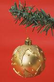 Golden bauble pendurado em uma árvore de Natal — Fotografia Stock