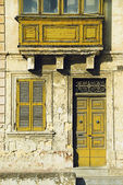 Facade of a building, Valetta — Stock Photo