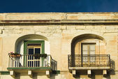 Balconies of a building, Valetta — Stock Photo