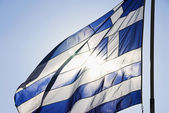 Greek flag fluttering — Stock Photo
