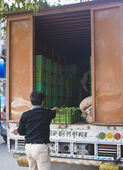 Men unloading vegetables in a truck — Stock Photo