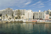Buildings at the waterfront, Balluta Bay — Stock fotografie