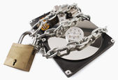 Computer hard disk locked — Stock Photo